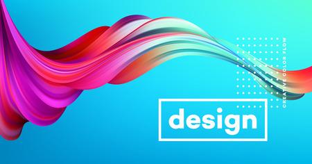 Ilustración de Modern colorful flow poster. Wave Liquid shape in blue color background. Art design for your design project. Vector illustration. - Imagen libre de derechos
