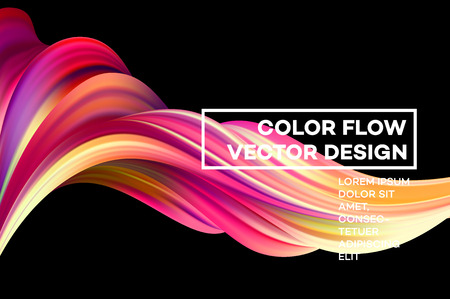 Ilustración de Modern colorful flow poster. Wave Liquid shape in black color background. Art design for your design project. Vector illustration. - Imagen libre de derechos