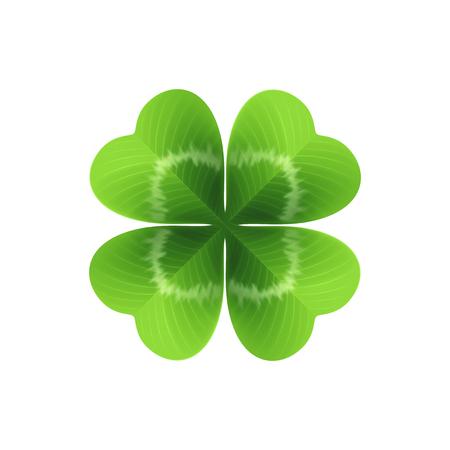 Ilustración de Four leaf clover isolated on white. Vector illustration - Imagen libre de derechos