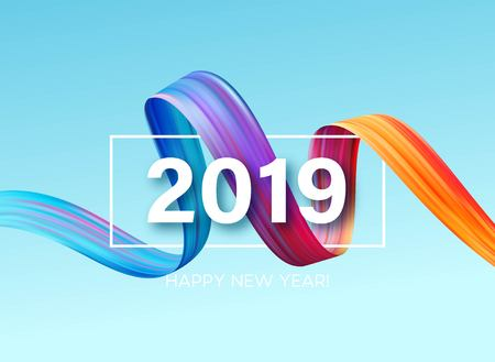 Illustration pour 2019 New Year of a colorful brushstroke oil or acrylic paint design element. Vector illustration - image libre de droit
