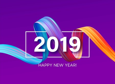Ilustración de 2019 New Year of a colorful brushstroke oil or acrylic paint design element. Vector illustration - Imagen libre de derechos