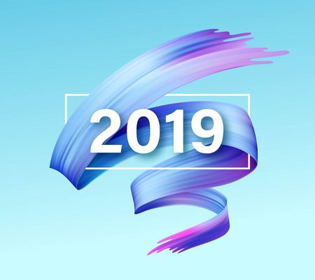 Illustration for 2019 New Year of a colorful brushstroke oil or acrylic paint design element. Vector illustration - Royalty Free Image