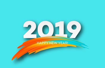 Ilustración de 2019 New Year on the background of a colorful brushstroke oil or acrylic paint design element. - Imagen libre de derechos