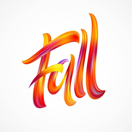 Ilustración de Fall Modern colorful flow lettering. Vector illustration EPS10 - Imagen libre de derechos