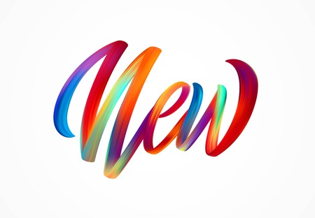 Illustration pour NEW word-sign, modern colorful flow lettering. Vector illustration EPS10 - image libre de droit
