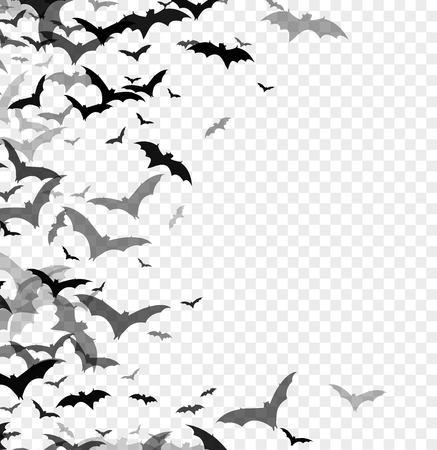 Ilustración de Black silhouette of bats isolated on transparent background. Halloween traditional design element. Vector illustration EPS10 - Imagen libre de derechos