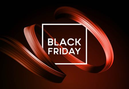 Ilustración de Black friday sale banner with flow color paint ribbon. Vector illustration EPS10 - Imagen libre de derechos