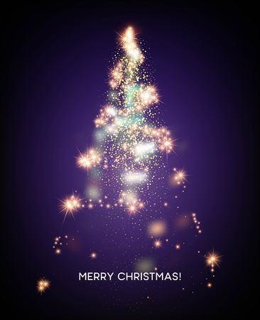 Ilustración de Shining Christmas tree. Light star background. Vector illustration EPS10 - Imagen libre de derechos