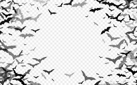 Ilustración de Black silhouette of bats isolated on transparent background. Halloween traditional design element. Vector illustration EPS10 - Imagen libre de derechos