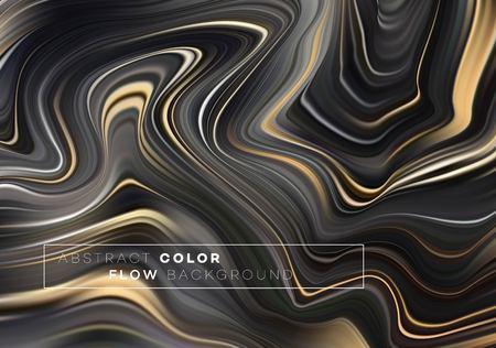 Illustration for Modern colorful flow poster. Wave Liquid shape in black color background. Art design for your design project. Vector illustration EPS10 - Royalty Free Image