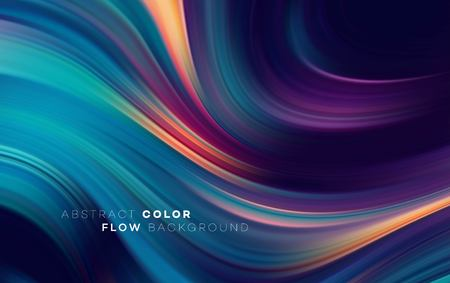 Ilustración de Modern colorful flow poster. Wave Liquid shape in black color background. Art design for your design project. Vector illustration - Imagen libre de derechos