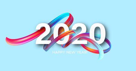 Ilustración de Happy New Year 2020. Lettering greeting inscription. Vector illustration EPS10 - Imagen libre de derechos