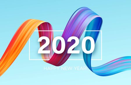 Ilustración de Happy New Year 2020. Lettering greeting inscription. Vector illustration - Imagen libre de derechos