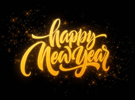 Illustration for Happy New Year 2020. Lettering greeting inscription. Vector illustration - Royalty Free Image
