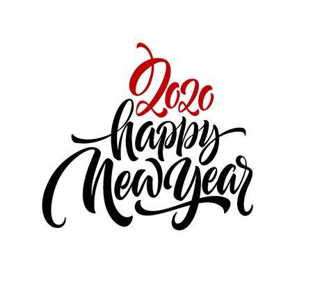 Ilustración de Happy New Year 2020. Lettering greeting inscription. - Imagen libre de derechos