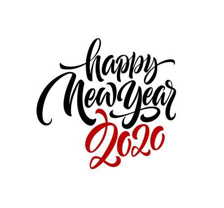 Illustration pour Happy New Year 2020. Lettering greeting inscription. Vector illustration EPS10 - image libre de droit