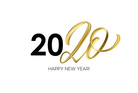 Photo for Happy New Year 2020. Lettering greeting inscription. Vector illustration - Royalty Free Image