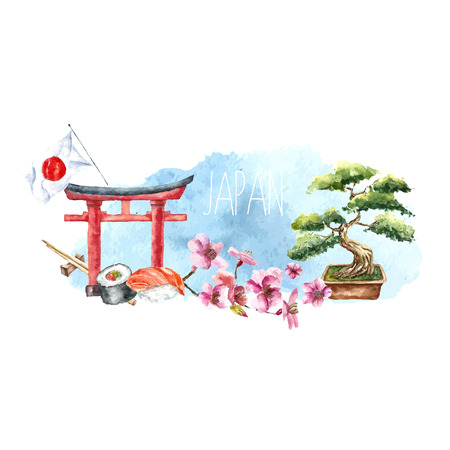 Ilustración de Watercolor Japan banner.Label with hand drawn elements: Torii gate, bonsai tree, cherry blossom branch, sushi roll,chopstick and Japan flag. Japan capital signs.Vector illustration. - Imagen libre de derechos