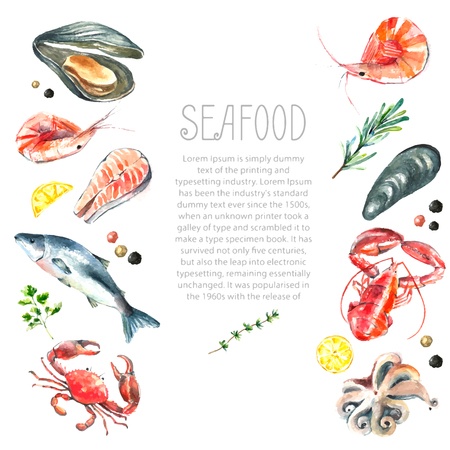 Ilustración de Watercolor frame of seafood.Hand draw isolated illustration on white background:lobster,crab,shrimp,octopus,mussel,salmon with herbs,lemon and peppers.Fresh organic food. - Imagen libre de derechos