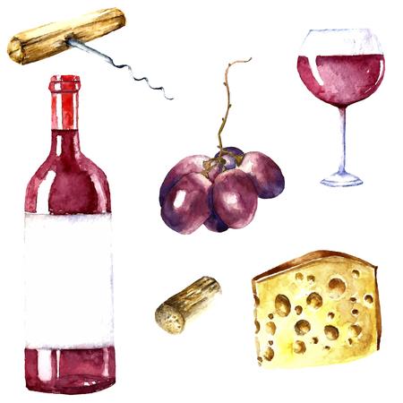 Ilustración de Watercolor wine design elements: wine glass, wine bottle, chees, corkscrew, cork, grape. - Imagen libre de derechos