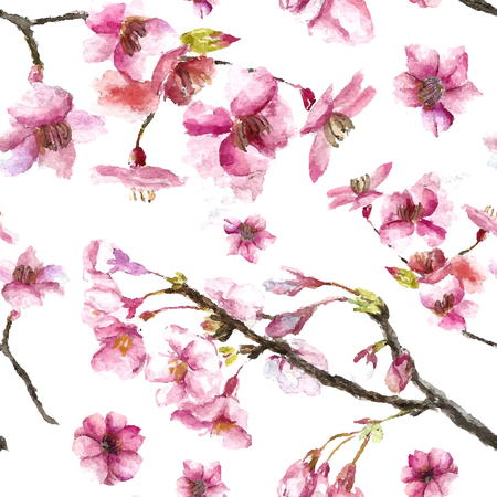 Illustration pour Watercolor oriental pattern with sakura branch. Seamless oriental texture with isolated hand drawn cherry blossom. Asian natural background in vector - image libre de droit