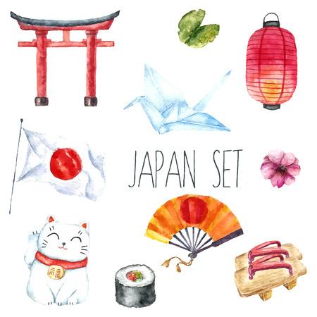 Ilustración de Watercolor set of Japan. Hand draw Japanese design elements:Torii gate,origami bird,Japan flag,lacky cat,Japanese lantern and fan,geisha shoes. - Imagen libre de derechos