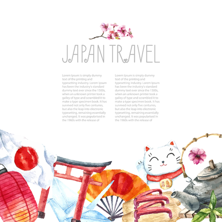 Illustration for Watercolor Japanese frame. Frame with hand draw Japanese objects:Torii gate,origami bird,Japan flag,lacky cat,Japanese lantern and fan,geisha shoes,bonsai tree,koi fish and cherry blossom. - Royalty Free Image