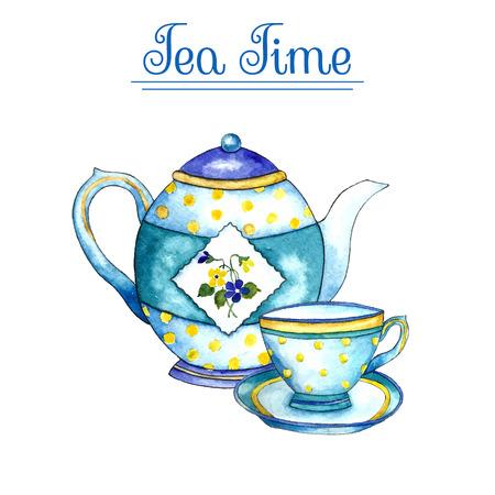 Illustration pour Watercolor teapot and cup on the white backgrounds. Vector illustration. - image libre de droit