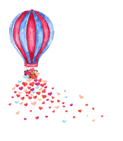 Ilustración de Watercolor bright card with hot air balloon and many hearts. Hand drawn vintage collage illustration with hot air balloon isolated on white background. Vector - Imagen libre de derechos