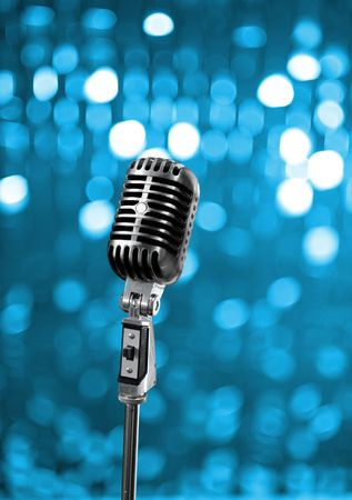 Photo for Retro microphone on blue stage - Royalty Free Image