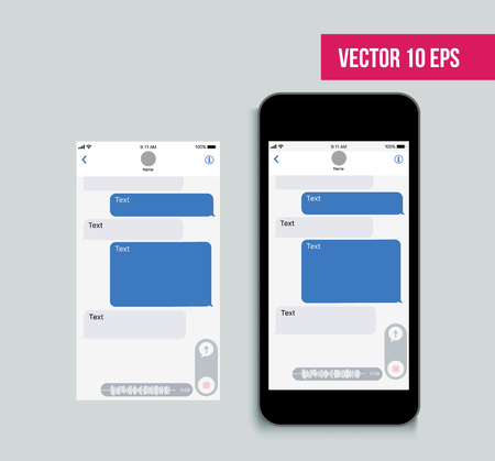 Ilustración de Mobile ui kit messenger. Chat app template. Social network concept. Vector illustration. - Imagen libre de derechos