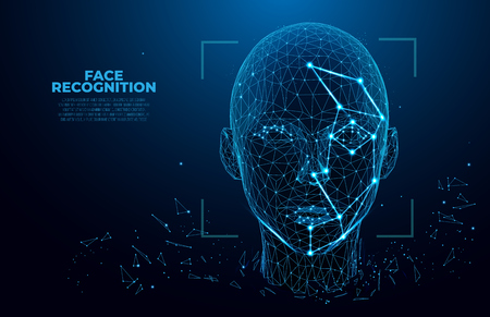Illustration pour Facial Recognition System concept. Face Recognition. 3D scanning. Face ID. vector wireframe concept. Polygon vector design. biometric scanning. - image libre de droit