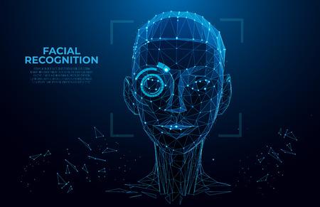 Ilustración de Face Recognition. Cyber women, Robot face. Facial Recognition System concept. biometric scanning, 3D scanning. Face ID. Identification of a person. Polygon vector wireframe concept. - Imagen libre de derechos