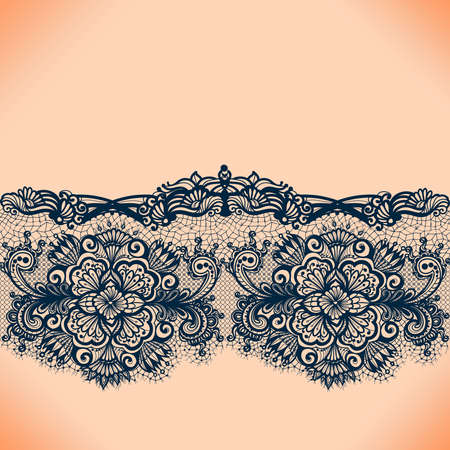 Illustration pour Abstract lace ribbon seamless pattern with elements flowers. Template frame design for card. Lace Doily. Can be used for packaging, invitations, and template. - image libre de droit