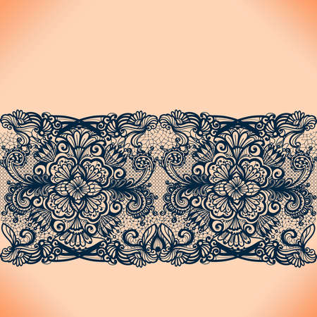 Illustration for Abstract lace ribbon seamless pattern with elements flowers. Template frame design for card. Lace Doily. Can be used for packaging, invitations, and template. - Royalty Free Image