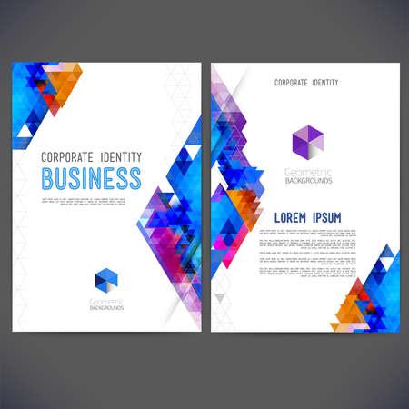 Ilustración de Abstract vector template design, brochure, Web sites, page, leaflet, with colorful geometric triangular backgrounds, logo and text separately. - Imagen libre de derechos