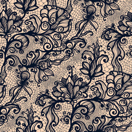 Illustration for Abstract seamless lace pattern with flowers. Infinitely wallpaper, decoration for your design, lingerie and jewelry. Your invitation cards, wallpaper, and more. - Royalty Free Image