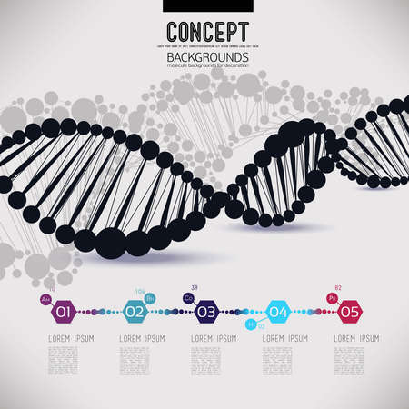 Illustration pour Abstract black geometric lattice DNA, the scope of molecules, the molecules in the circle. Round composition of the molecular lattice.Color picture composition for your design. - image libre de droit