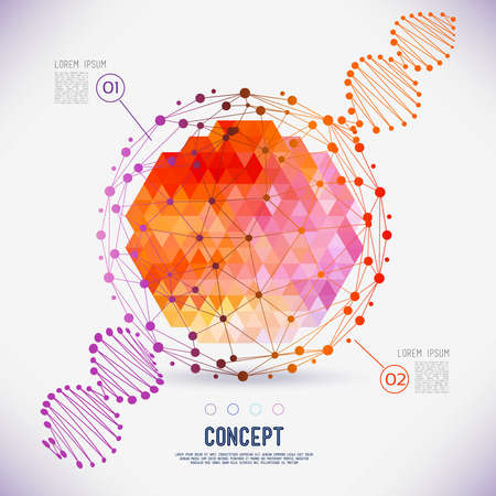 Illustration pour Abstract concept geometric lattice, the scope of molecules, DNA chain. Round composition of the molecular lattice with geometrical figure in the middle. Color composition vector for your design. - image libre de droit