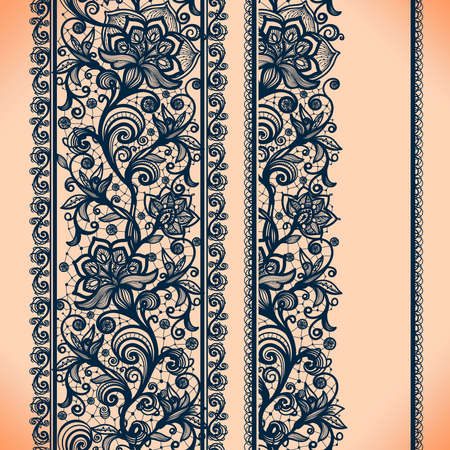 Illustration pour Abstract Lace Ribbon Vertical banners.Template frame design for card.Lace Doily.Can be used for packaging, invitations, and template. - image libre de droit
