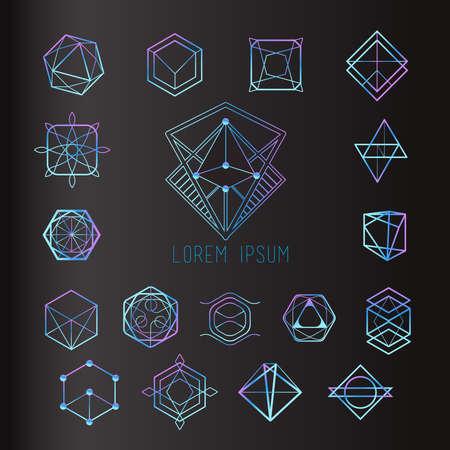 Illustration pour Sacred geometry forms, shapes of lines, logo, sign, symbol - image libre de droit