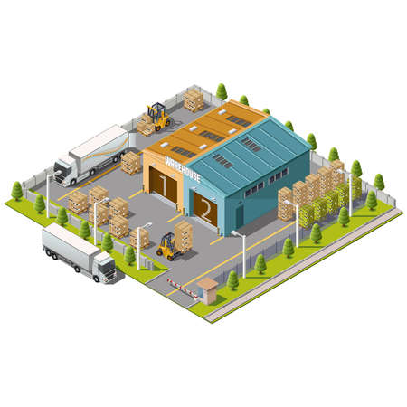 Ilustración de Warehouse Industrial area with seating for loading and unloading, shipping and delivery, transportation and building - Imagen libre de derechos