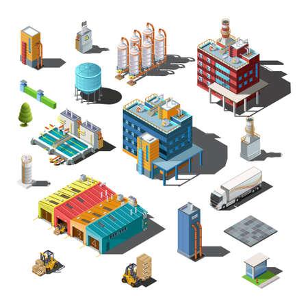 Ilustración de Icons and compositions of industrial subjects - Imagen libre de derechos