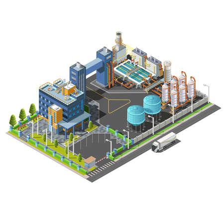 Ilustración de Isometric Industrial area, plant, hydroelectric, water purifying system construction - Imagen libre de derechos