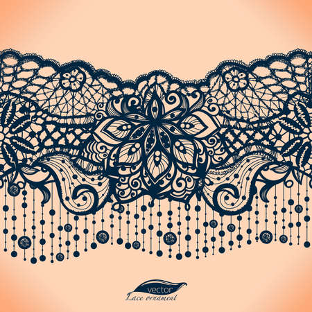 Illustration for Abstract lace ribbon seamless pattern with elements flowers. - Royalty Free Image