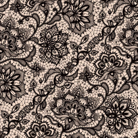 Illustration pour Abstract seamless lace pattern with flowers and butterflies. Infinitely wallpaper, decoration for your design, lingerie and jewelry. Your invitation cards, wallpaper, and more. - image libre de droit