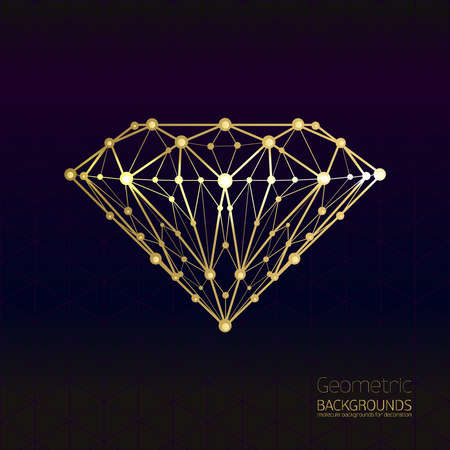 Illustration pour Geometrical shape of the gold diamond lattice of molecular. Abstract form of the diamond, forms design background, vector composition of a triangle. Isolated on black background. Vector. - image libre de droit