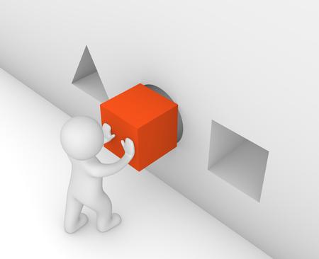 Foto de 3d man putting a cube in the wrong hole - Imagen libre de derechos
