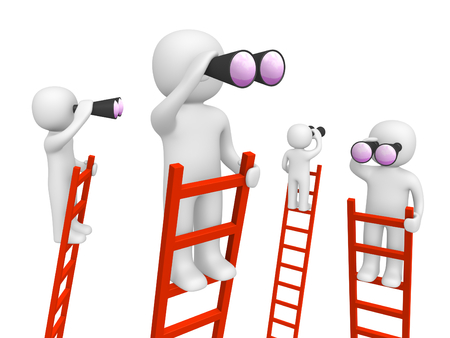 Photo for 3d people standing on the ladders and looking through binoculars. 3d render. - Royalty Free Image