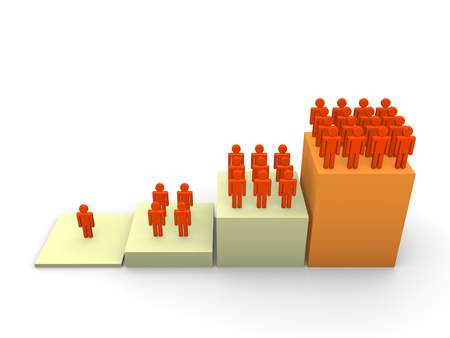 Foto de Graph with rising number of people. 3d render. - Imagen libre de derechos